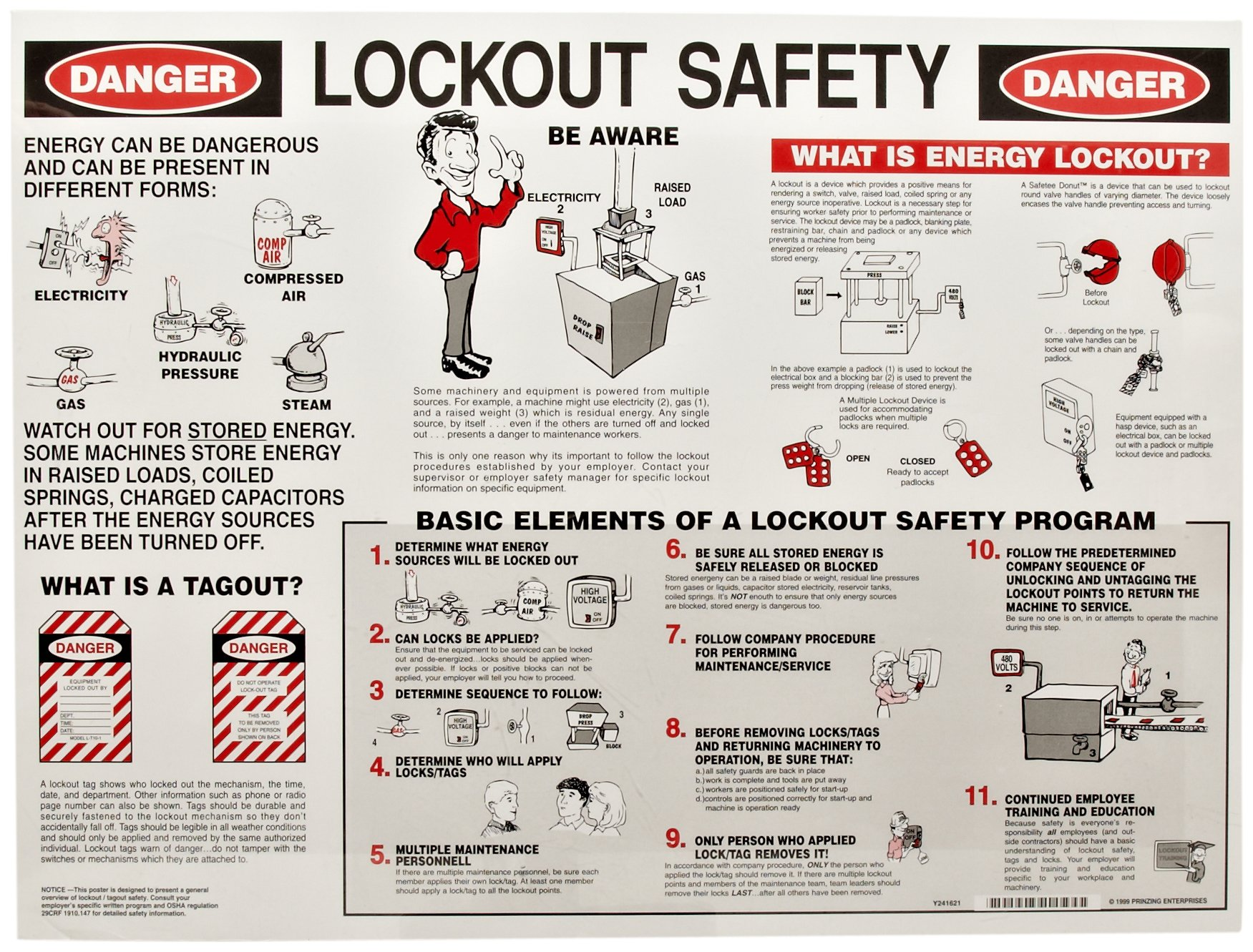 Brady Laminated Lockout Safety Poster, 18'' Height x 24'' Width - 45636