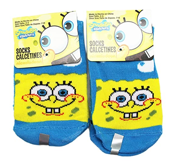 Spongebob Squarepants Sky Blue Normal Smile Kids Socks (Size 4-6, 2 Pairs