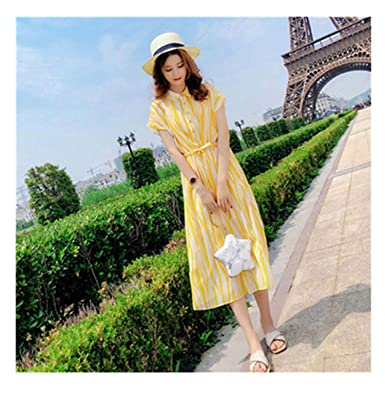 Melissa Fashion New Dress Summer 2018 Striped Chiffon Women Dress Temperament Waist Shirt Dress Gentle Super