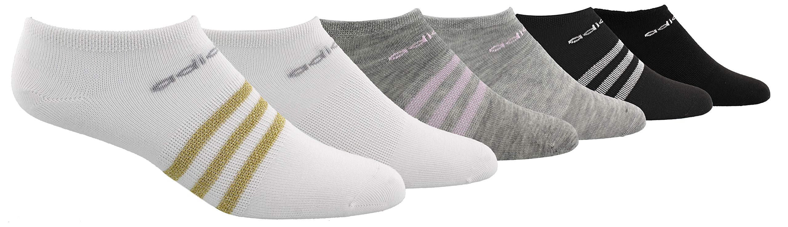 adidas Youth Kids-Girl's Superlite No Show Socks (6 Pair), White/Gold Lurex/Clear Onix Light Heather Grey/Aer, Small, (Shoe Size 9C-1Y) by adidas