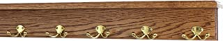 "product image for Oak Shelf Coat Rack with Solid Brass Double Style Hooks (Chestnut, 26"" with 5 hooks)"