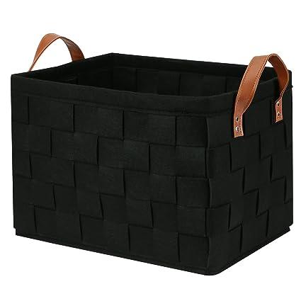 Perber Storage Baskets,Handmade Decorative Collapsible Rectangular Felt Fabric  Storage Bin,Large Enough For