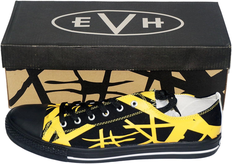 Van Halen EVH Black Striped Yellow Low Top Sneaker Shoes