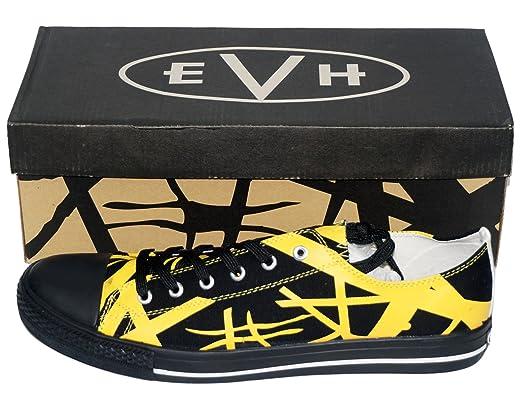 99198dcd08b7e7 Amazon.com  Van Halen EVH Black Striped Yellow Low Top Sneaker Shoes ...