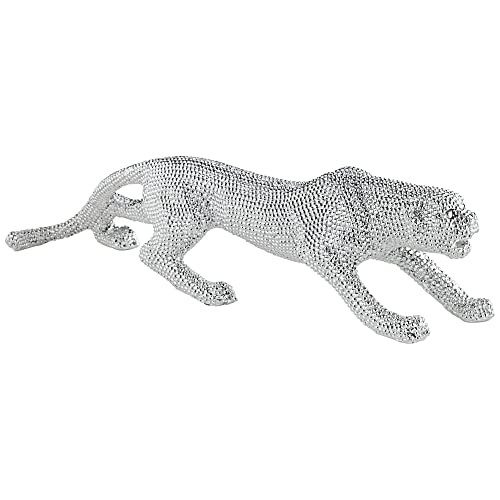 Studio 55D Prowling 23 1 2 Wide Electroplated Silver Leopard Sculpture