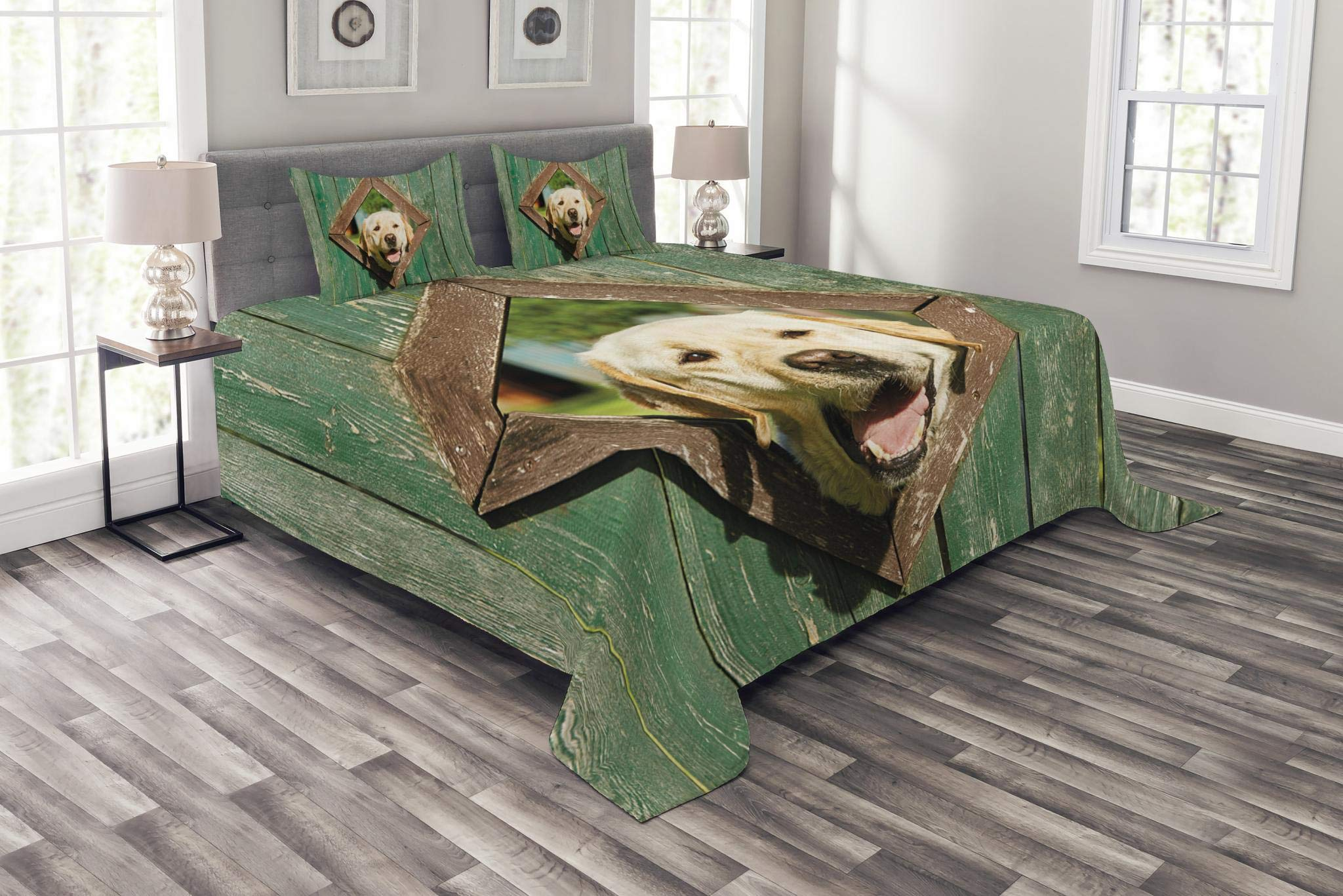 Lunarable Funny Bedspread Set King Size, Curious Dog is Looking from Window in Old Rustic Wooden Fence Cheerful Print, Decorative Quilted 3 Piece Coverlet Set with 2 Pillow Shams, Forest Green Brown