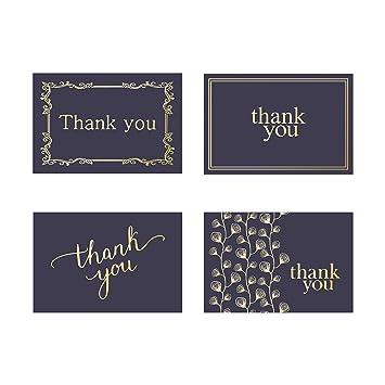 48 Cartes De Remerciement Bulk Notes Bleu Marine Et Dor