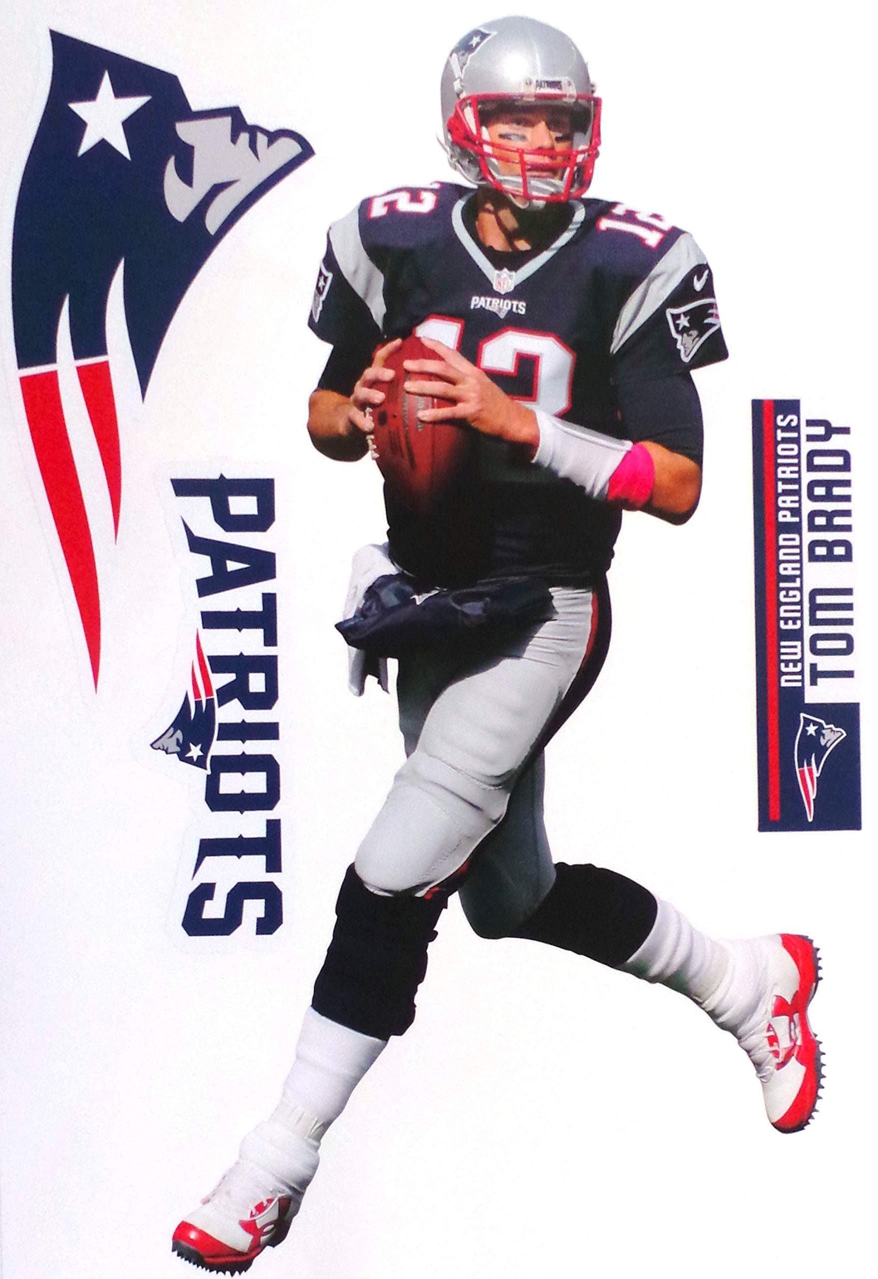 FATHEAD Tom Brady New England Patriots Official NFL Vinyl Wall Graphic 17'' INCH by FATHEAD
