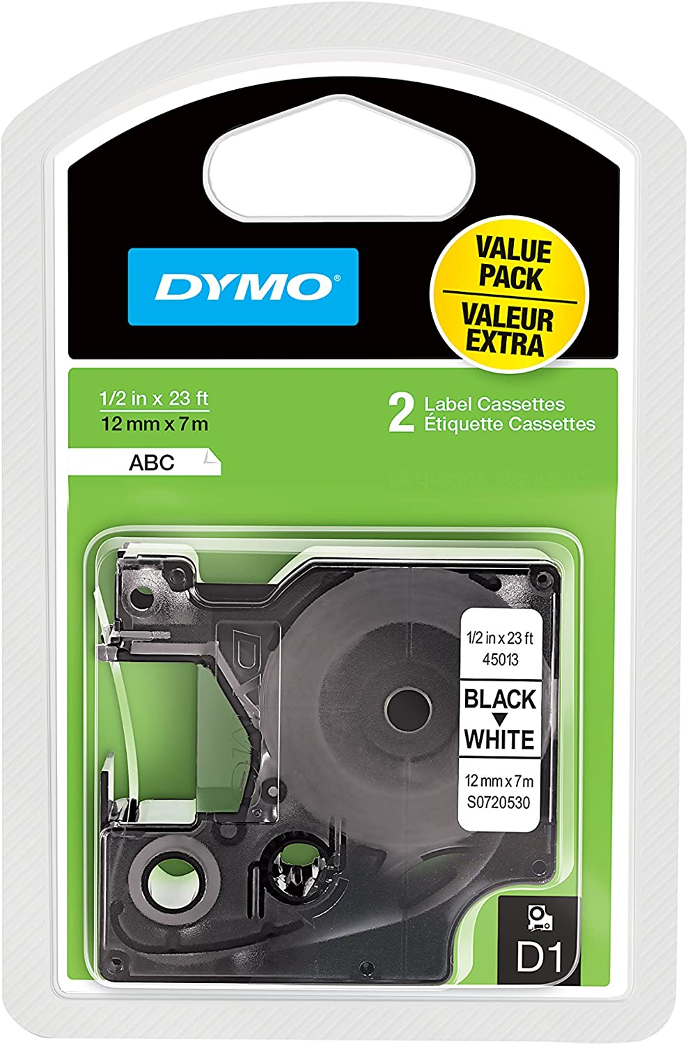 DYMO Standard D1 Self-Adhesive Polyester Tape for Label Makers, 1/2-inch, Black Print on White, 23-foot Cartridge, 2-Pack (1926208)