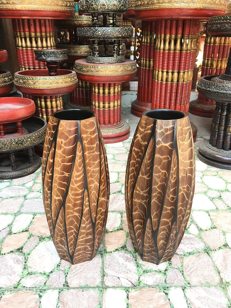 A Pair of Mango Wood Vase Hand-Crafted, Floor Vase 16 inches (No.0022) by WADSUWAN SHOP