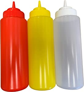 Large Ketchup Mustard and Clear BPA Free Food Prep Set of 3 Plastic Squeeze Bottles for Condiments Holds 32 oz Each