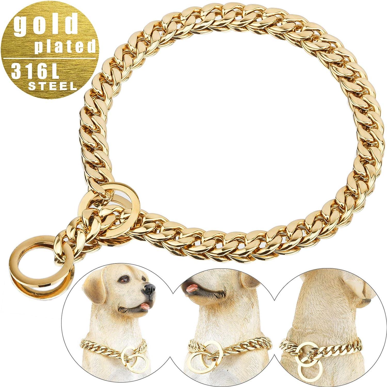 Collar de perro Dorado,Collar de perro Cuban Link Dog Collar Rap Style 12//15mm Width 10-26 Long Gold Chain Dog Collars ladashop Very Strong Gold Dog Collar Chain