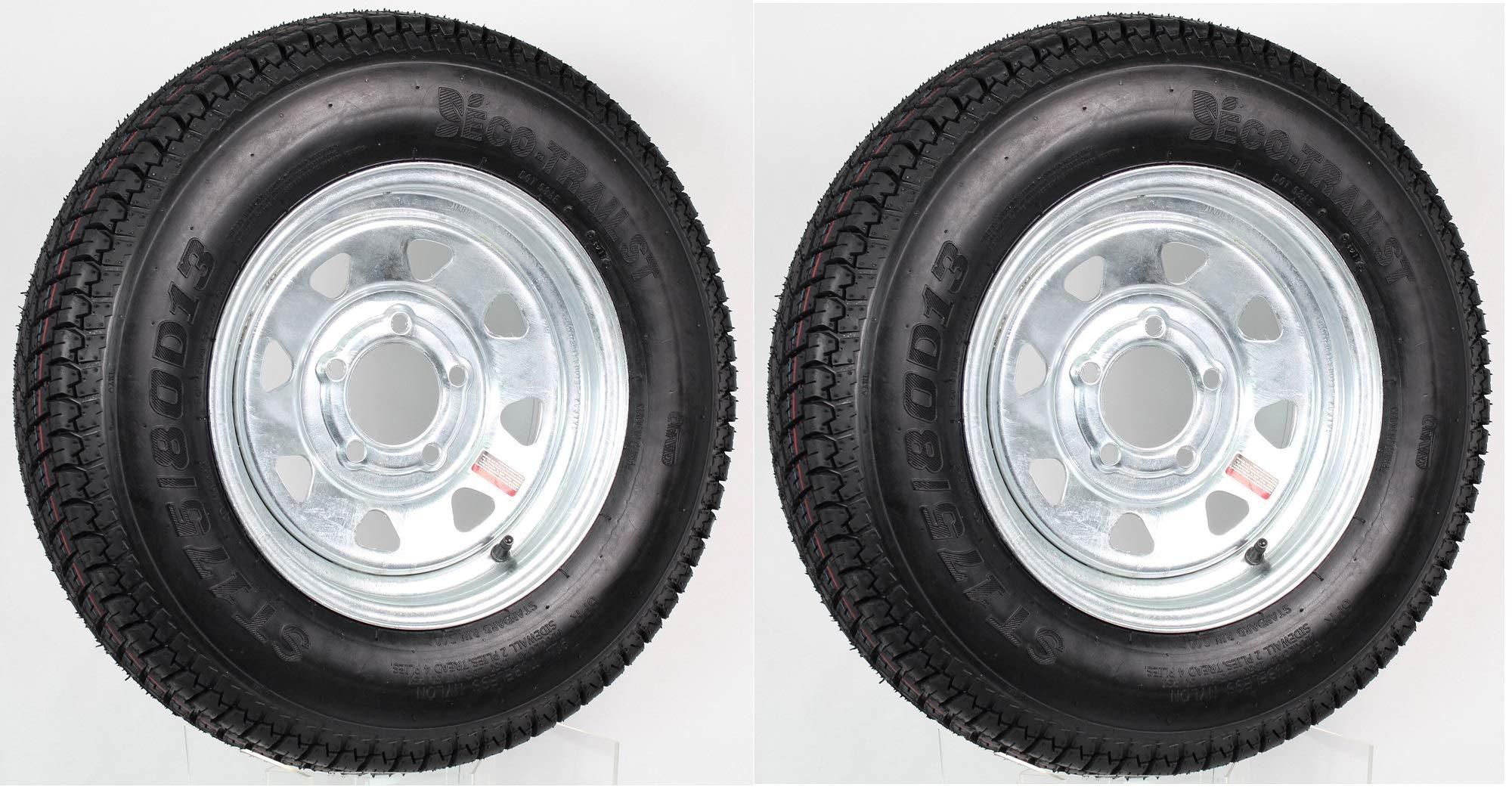 eCustomRim 2-Pk Eco Trailer Tire & Rim ST175/80D13 13'' Load C 5 Lug Galvanized Spoke 58850