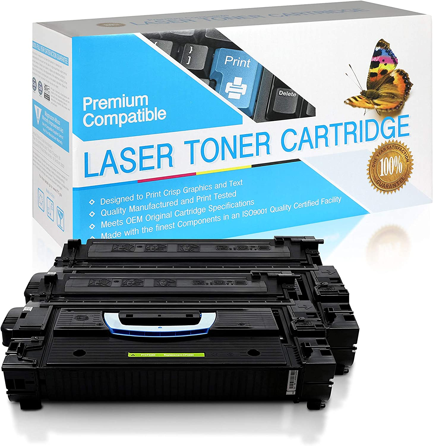 Black,2 Pack USA Advantage Compatible Toner Cartridge Replacement for HP 25X CF325X