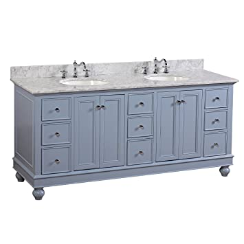 Bella 72 Inch Double Bathroom Vanity Carrarapowder Blue Includes