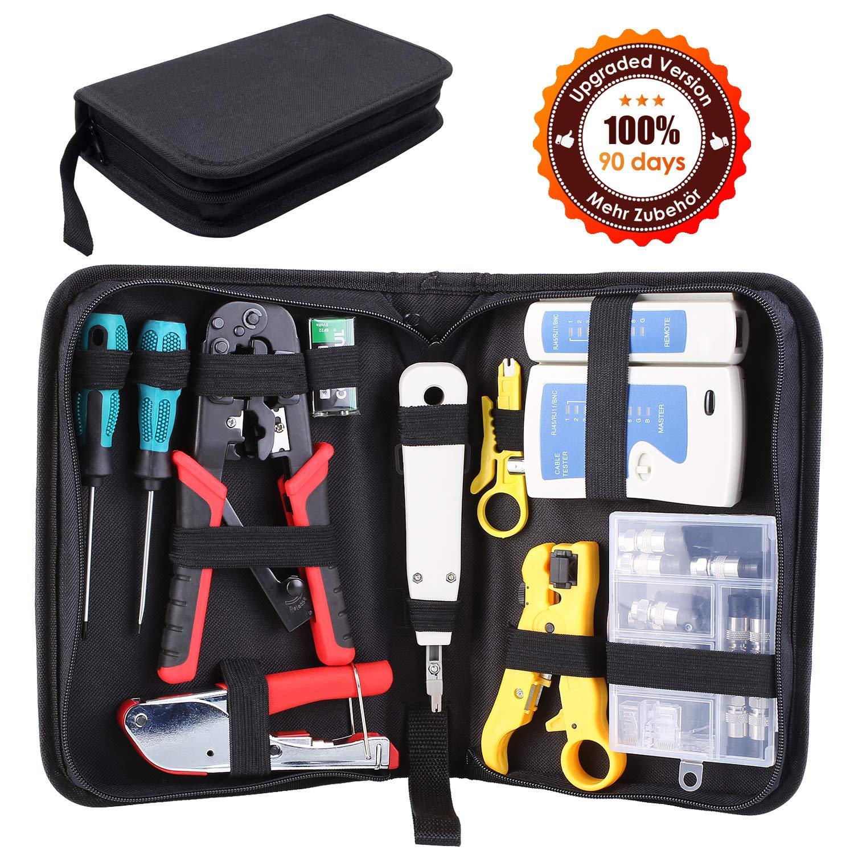 FIXKIT Kit de Herramientas de Reparación de Red Comprobador de Cable de Red para Profesionales de Mantenimiento de Ordenadores y Computadoras (13 EN 1)
