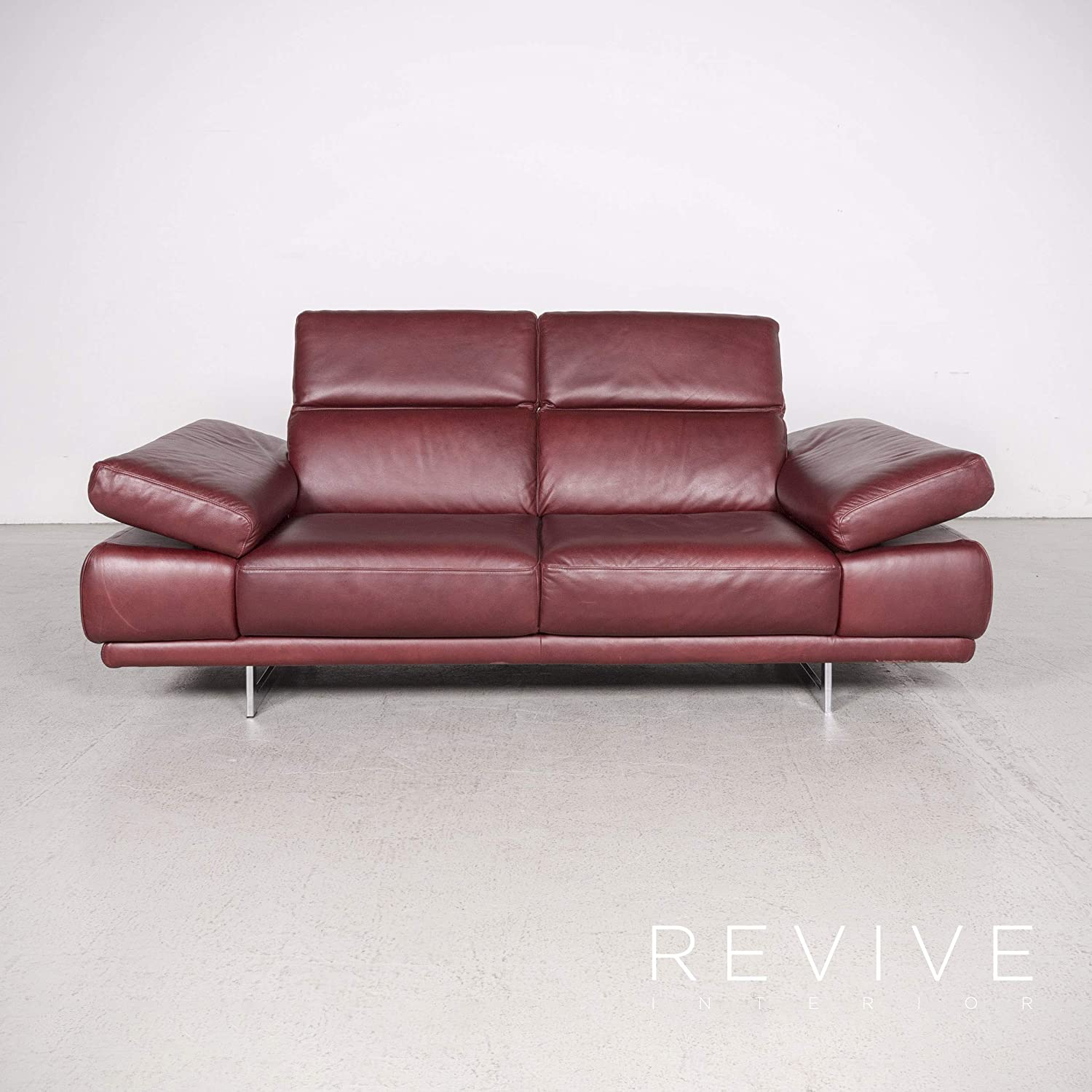 Natuzzi Preludio Designer Leather Sofa Red Three-Seater ...