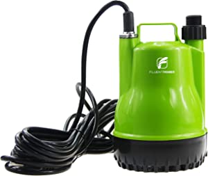 "FLUENTPOWER 1/4 HP Portable Submersible Utility Pump with 1500 GPH Flow for Water Removal, Drainage Sump Pump with 3/4"" Adaptor for Standard Garden hose"