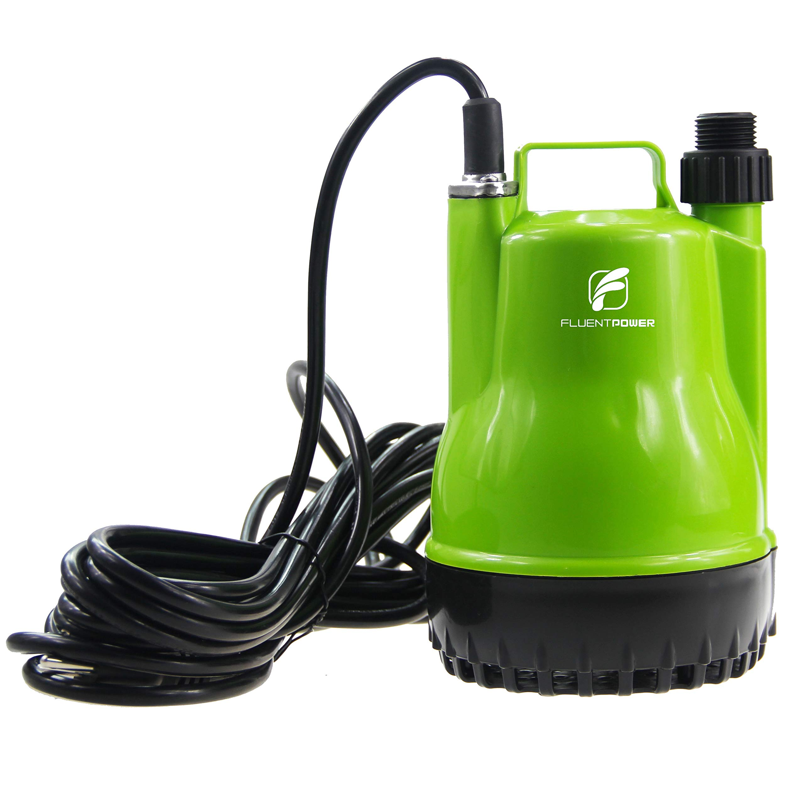 FLUENTPOWER 1/4 HP Portable Submersible Utility Pump with 1500 GPH Flow for Water Removal, Drainage Sump Pump with 3/4'' Adaptor for Standard Garden hose by FLUENTPOWER