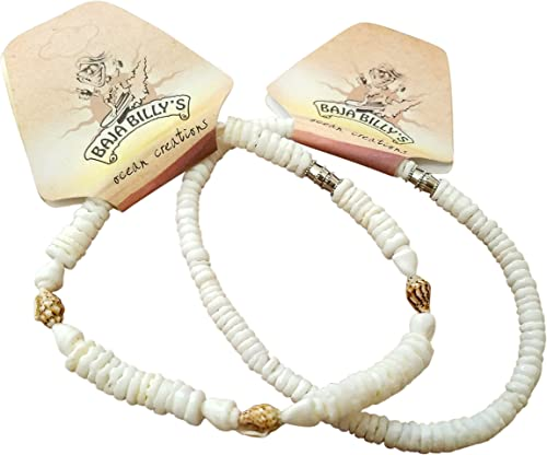 Baja Billys Ocean Creations Beach Shell Anklet Set 9 inches 2 Different Ankle Bracelets for Small Ankle