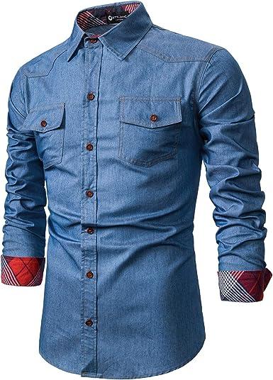 STTLZMC Cotone Maglietta a Maniche Lunghe da Uomo Casuale Poloshirt Camicia con Scollo a V T-Shirt