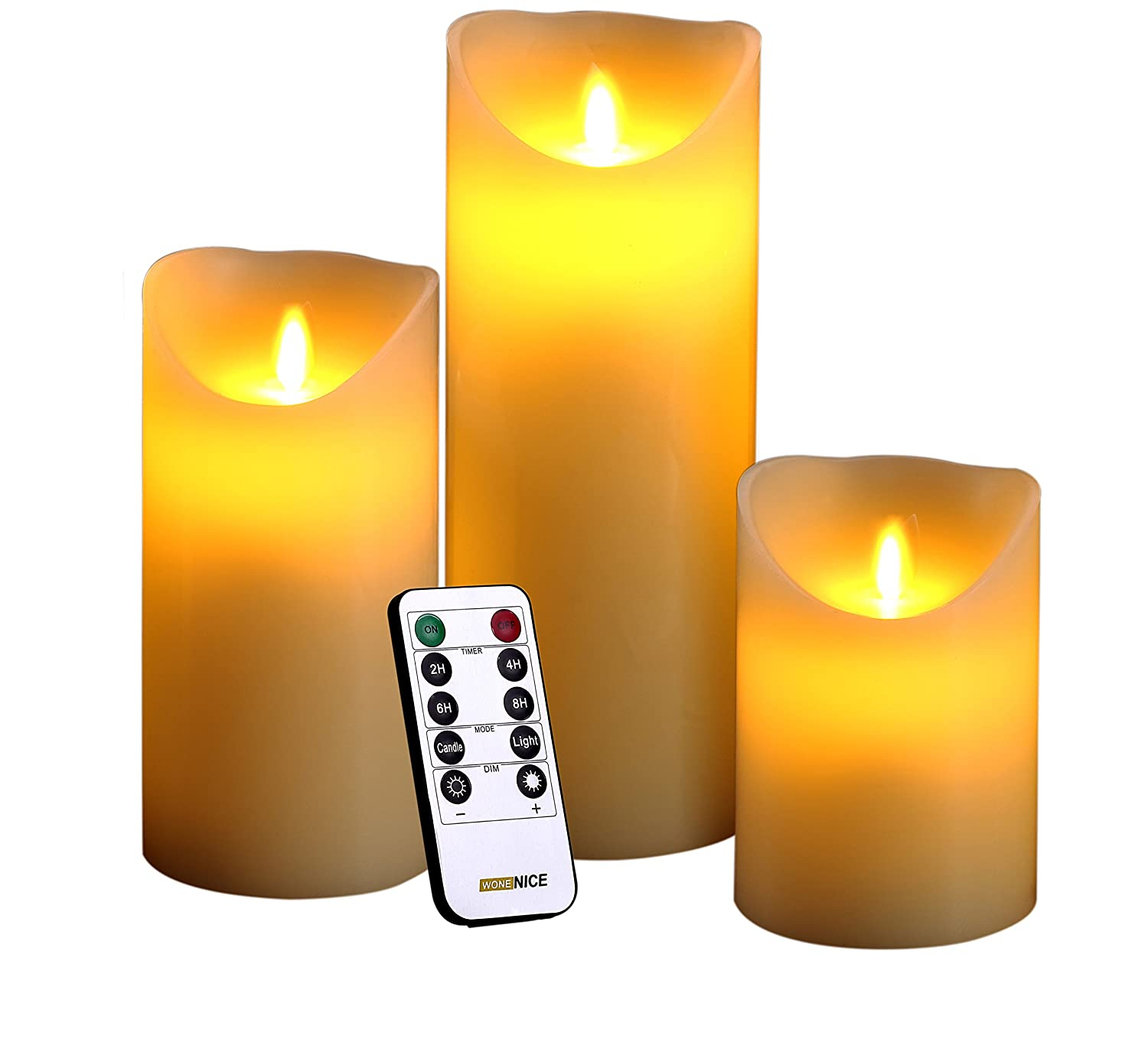 WoneNice LED Flameless Candles Set of 3 Real Wax Battery Pillar Candles Realistic Dancing Mood and 10 Keys Remote Control with Timer 300 Hours Decorations Candles Lights for Christmas