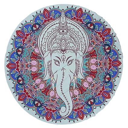 elchom redondo indio Mandala Elefante Tapiz Boho toalla de playa manta estera de Yoga manta Roundie