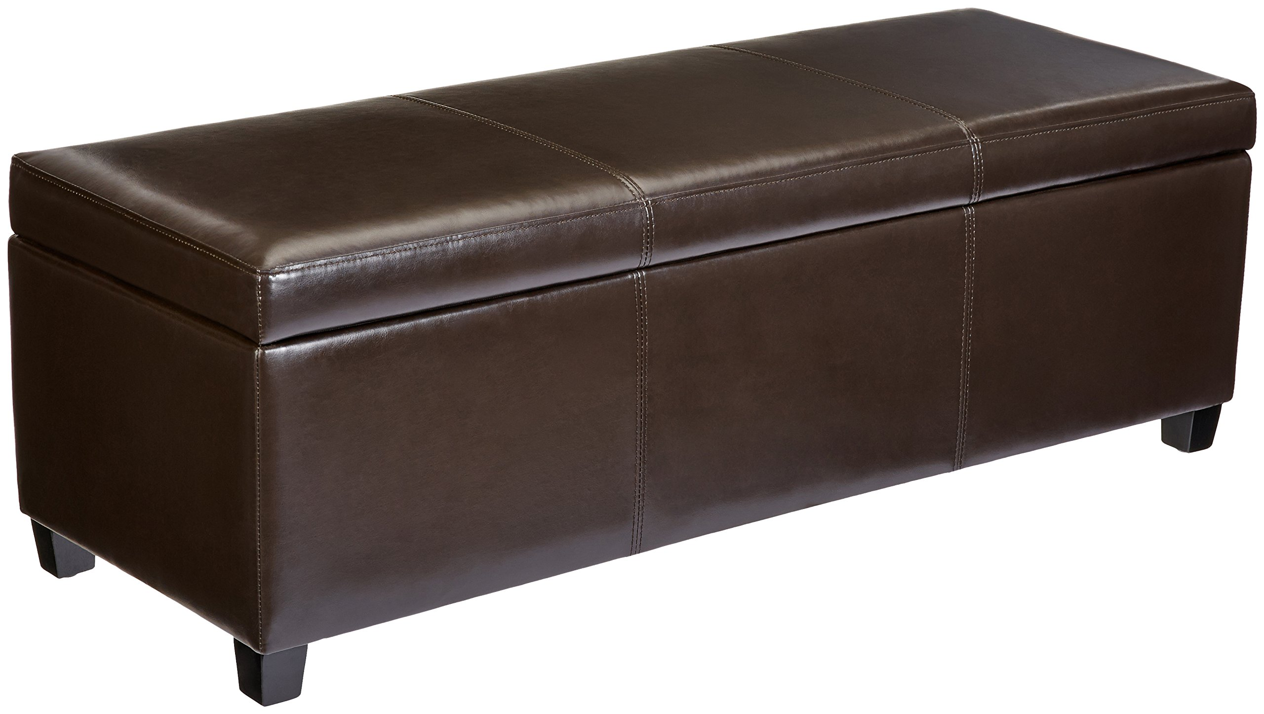 First Hill Madison Rectangular Faux Leather Storage Ottoman Bench, Large, Espresso Brown by First Hill