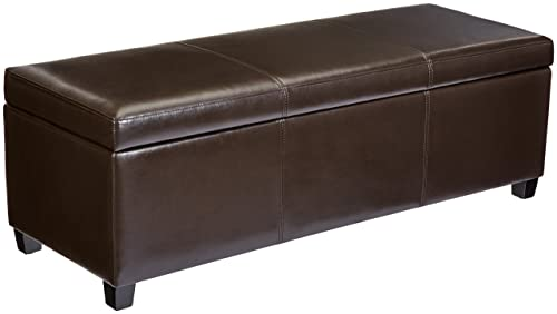First Hill Madison Rectangular Faux Leather Storage Ottoman Bench, Large, Espresso Brown