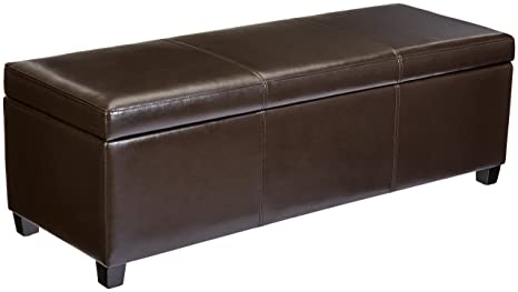 Surprising First Hill Madison Rectangular Faux Leather Storage Ottoman Bench Large Espresso Brown Lamtechconsult Wood Chair Design Ideas Lamtechconsultcom