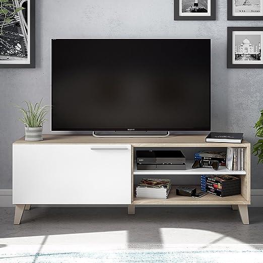 Habitdesign 026670F - Mueble de Comedor Moderno, Mueble Salon TV Color Blanco Brillo y Roble Canadian, Modelo Nara, Medidas: 130 x 45 x 42 cm de ...