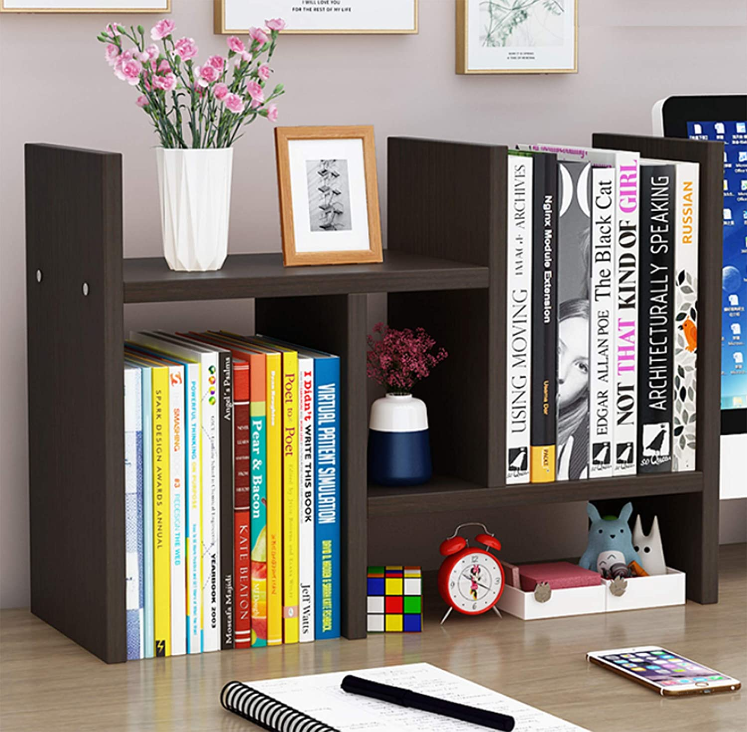 Office Desktop Bookshelf Adjustable Wood Display Shelf Desktop Organizer Office Storage Rack Countertop Bookcase Office Supplies Desk Organizer Accessories (Color: Espresso)