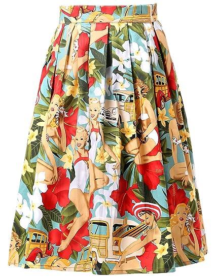 GRACE KARIN Falda Plisada Estampada Floral/a Lunares Vintage de ...