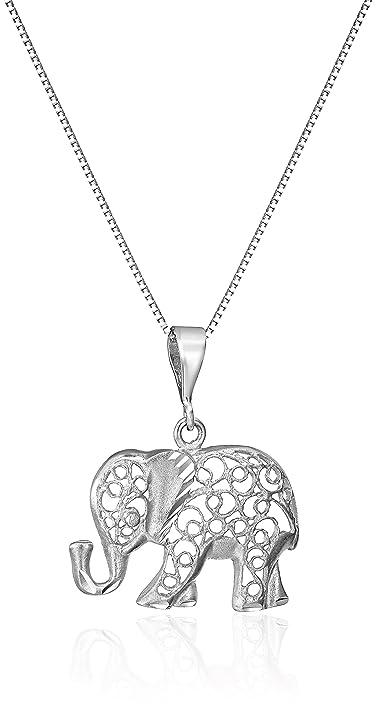 Amazon 14k white gold diamond cut elephant pendant necklace 18 14k white gold diamond cut elephant pendant necklace 18quot aloadofball Choice Image