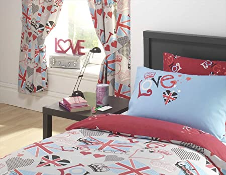 PUNK ROCKER LOVE UNION JACK FULLY LINED CURTAINS SET 66u0026quot; X 72u0026quot; ...