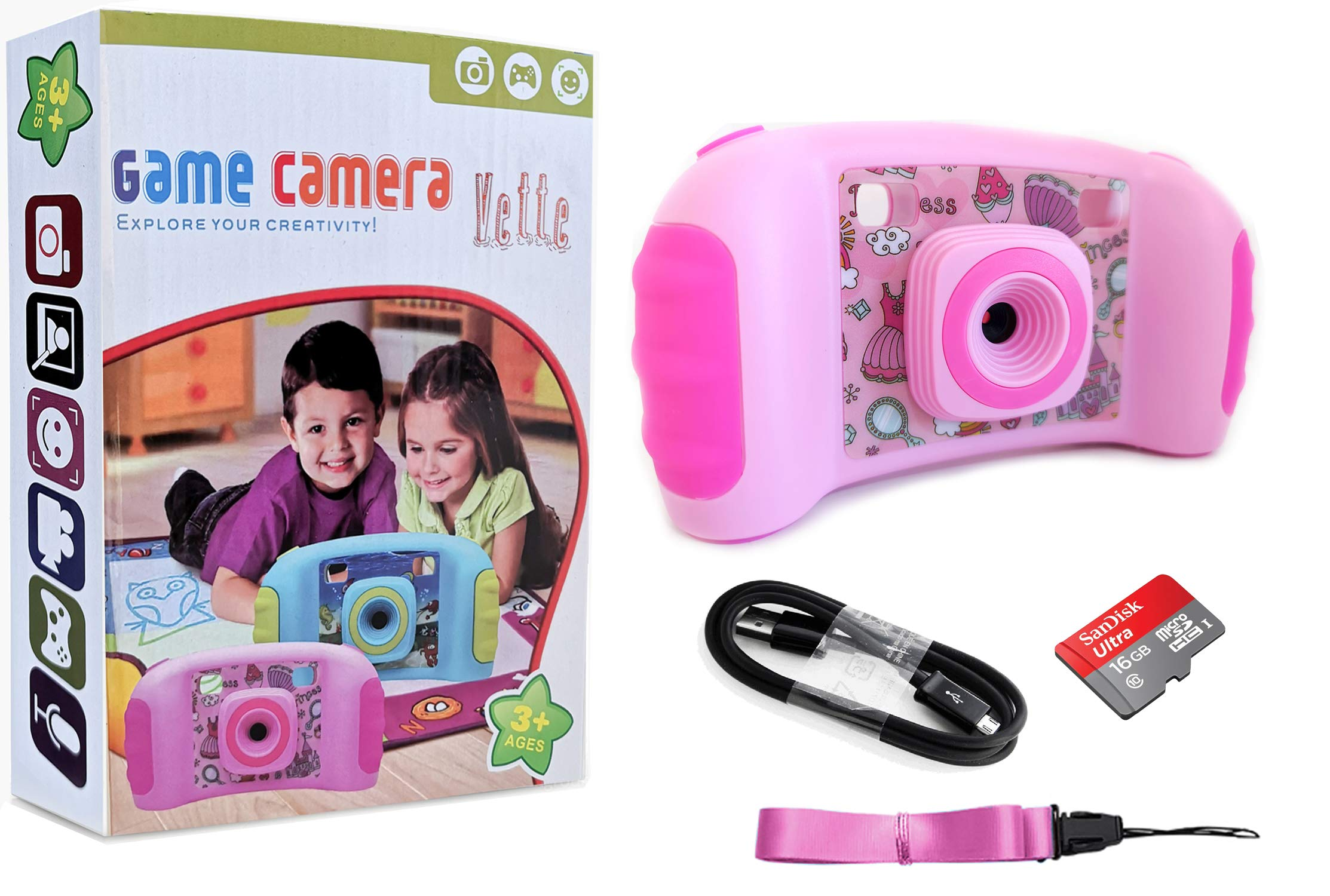Vetté Digital Camera for Kids with 16GB MicroSD Card - Multifunctional Kids Camera - 2X Zoom, 720 HD Video Quality, 1.8 TFT LCD Screen,Games, Frames, Photo Editing and Voice Recorder Camera (Pink) by Vetté (Image #6)