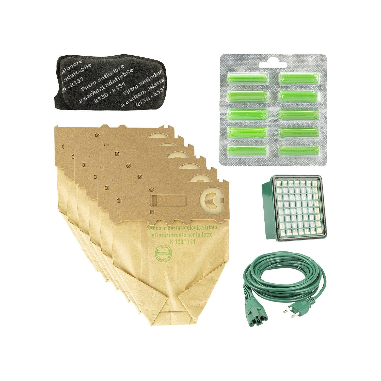 Acquisto Kit 12 Sacchi + 20 Profumi + 2 Hepa + 2 Carbone + Cavo 10M Adattabile VK130/131 Prezzo offerta