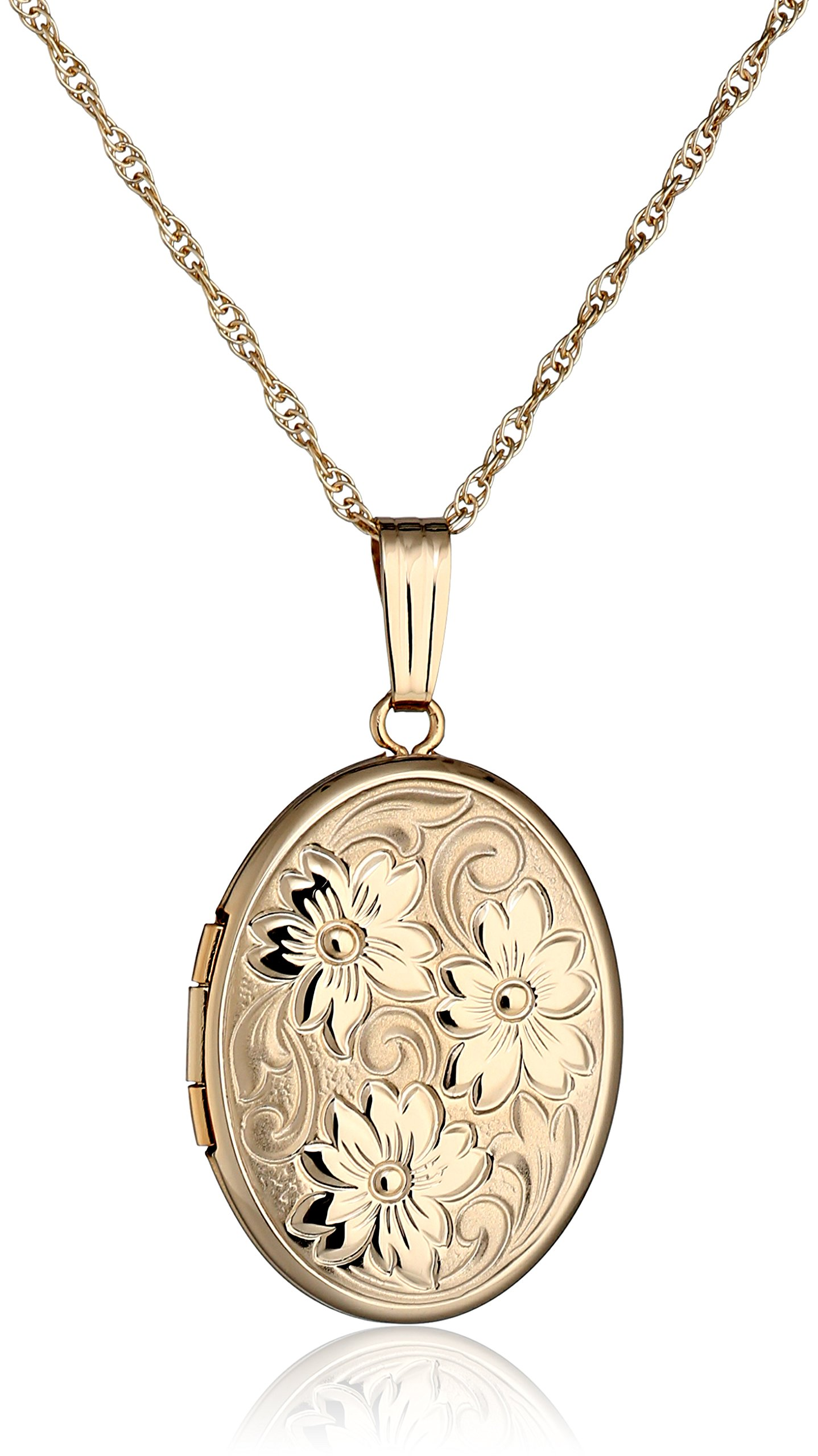 14k Yellow Gold Embossed Polished Oval Locket Necklace, 18''