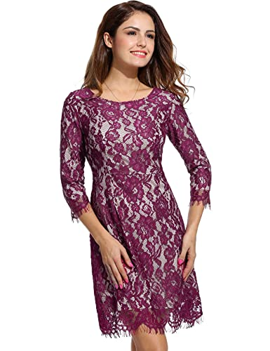 ANGVNS Evening Dress Long Sleeve O Neck Wedding Bridesmaid Lace Dress