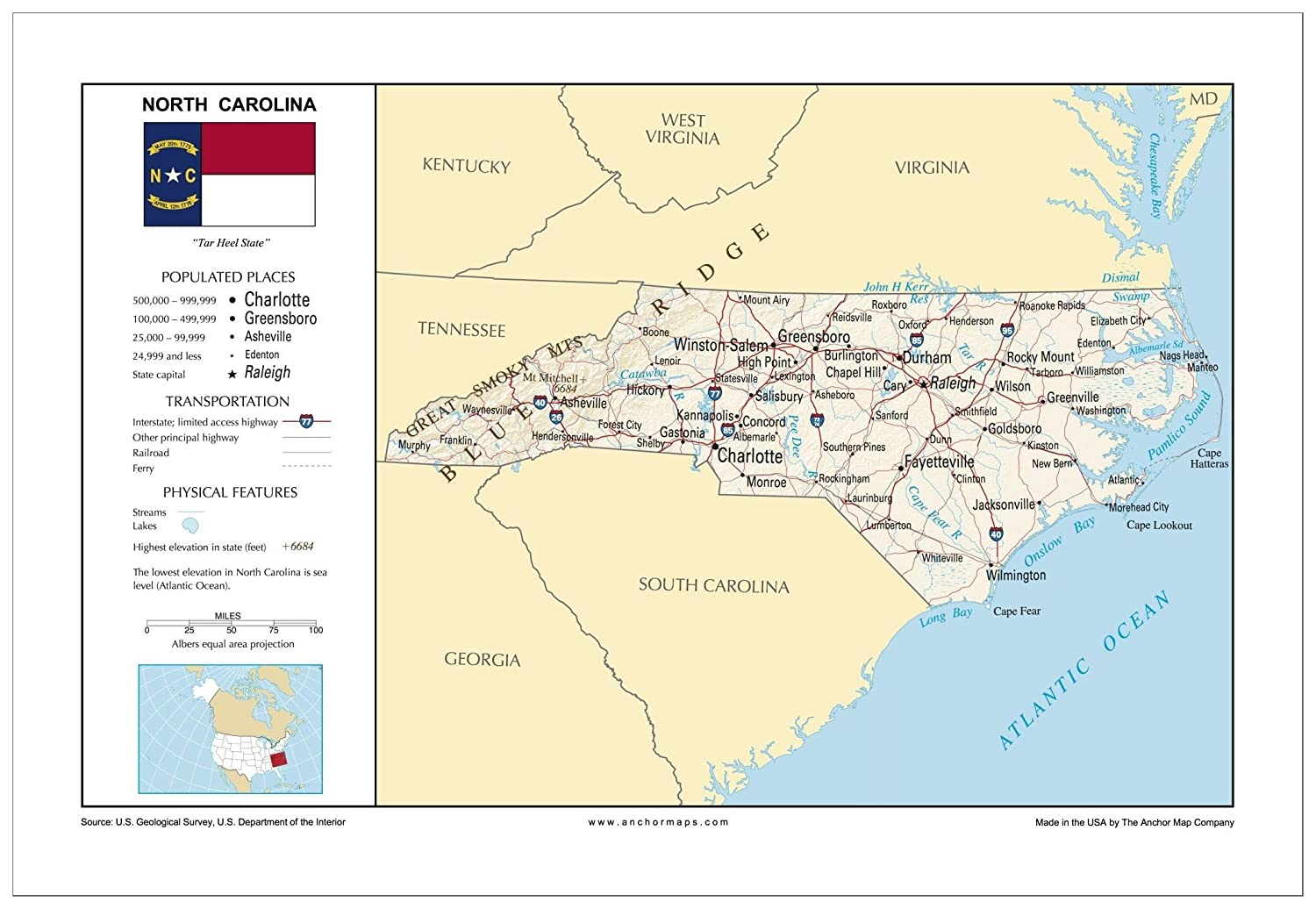13x19 North Carolina General Reference Wall Map - Anchor Maps USA  Foundational Series - Cities, Roads, Physical Features, and Topography  [ROLLED]