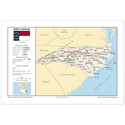 North Carolina State Map: Amazon.com