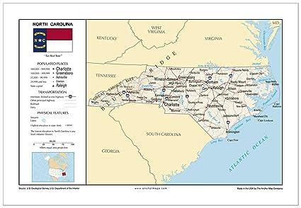 Amazon.com : 13x19 North Carolina General Reference Wall Map ...