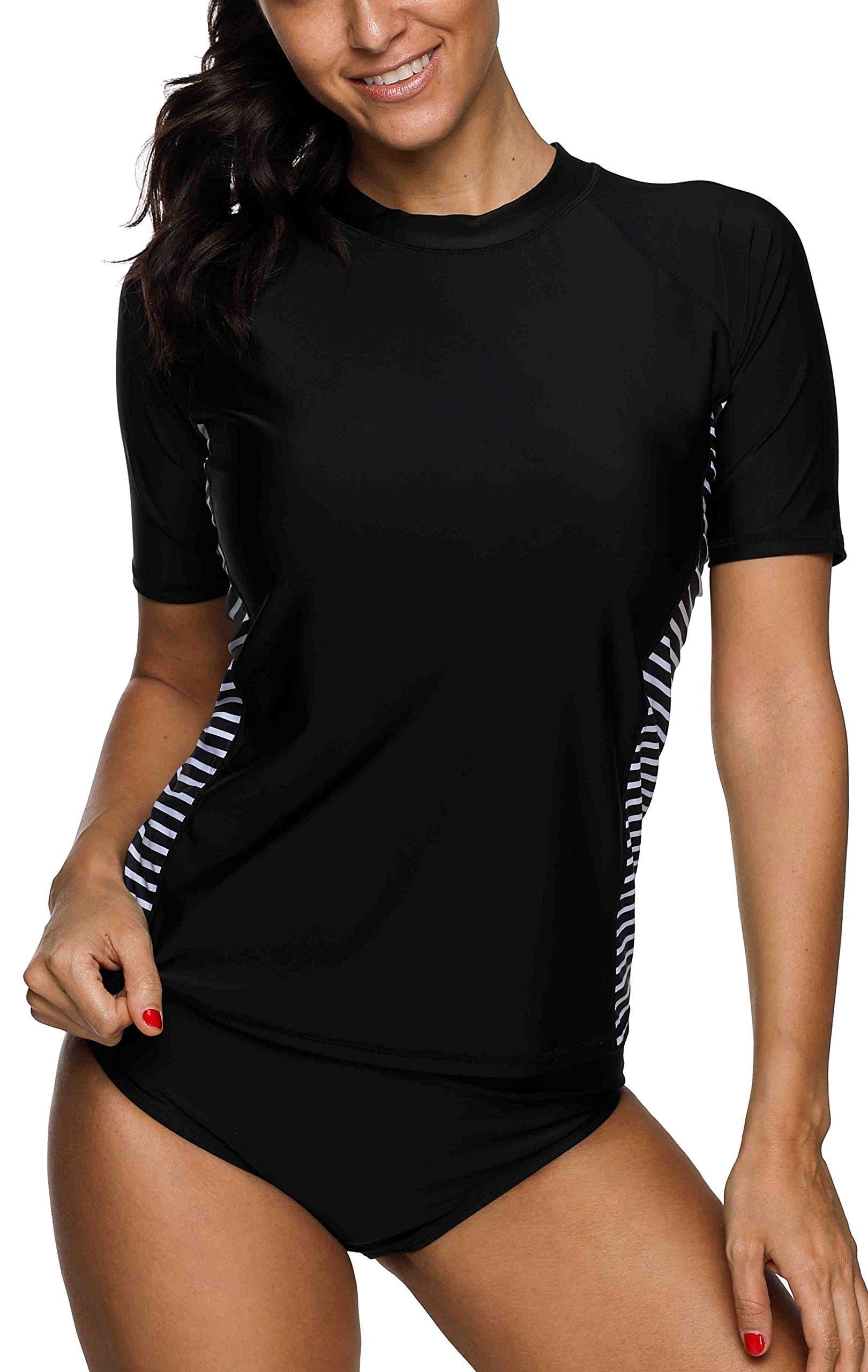 beautyin uv Protection Shirt for Women Short Sleeve rashgaurd Swimsuit surf Tops