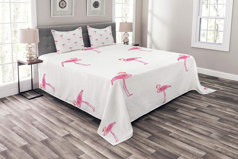 Lunarable Flamingo ベッドスプレッド フラミンゴ柄 水彩絵画効果 シンプル デザイン アートプリント 装飾キルトベッドカバーセット 枕カバー付き ピンクとホワイト クイーン bed_9437_queen B07H8KH9PG マルチ1 クイーン
