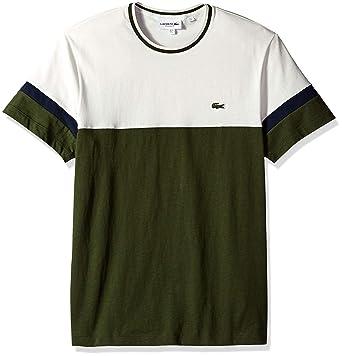 2e601136 Lacoste Men's S/S Colorblock Jersey T-Shirt, Caper Bush/Flour/