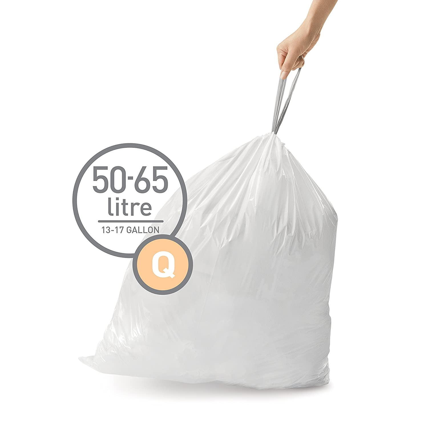 simplehuman Code Q Custom Fit Drawstring Trash Bags, 50 - 65 Liter / 13-17 Gallon, 100-Count Box