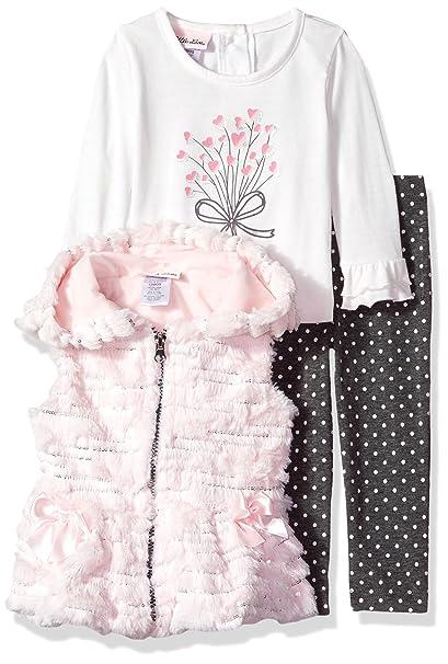 d02514a169 Amazon.com: Little Lass Baby 3pc Faux Fur Vest Set, Blush, 18M: Clothing