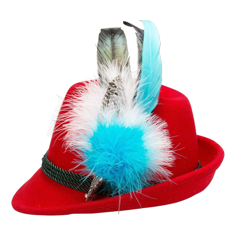 Alpenflüstern Damen Filzhut Trachtenhut rot mit Hutfeder Farbenfroh ADV07400M65 türkis