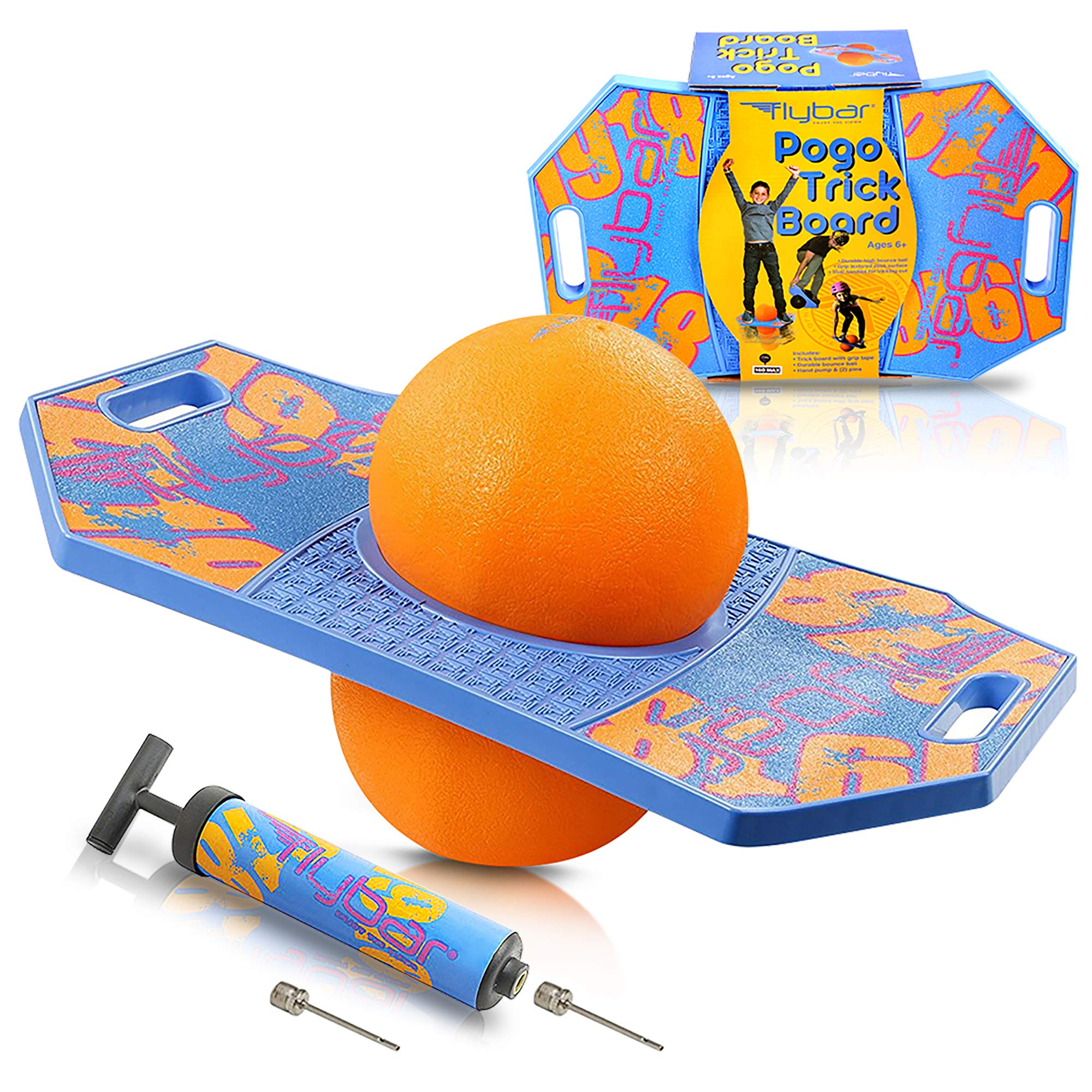 Flybar Pogo Ball for Kids, Jump Trick Bounce Board with Pump and Strong Grip Deck by Flybar