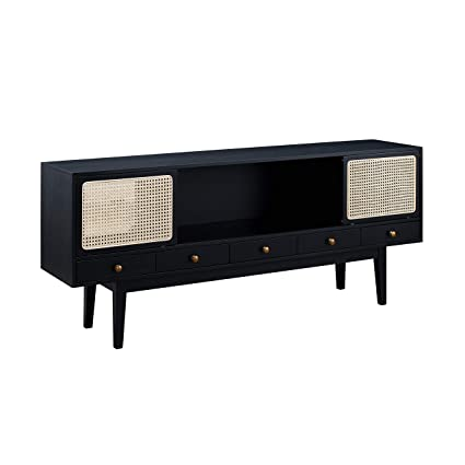 Charmant Holly U0026 Martin Simms Midcentury Modern Media Console (Black With Natural,  Antique Bronze)